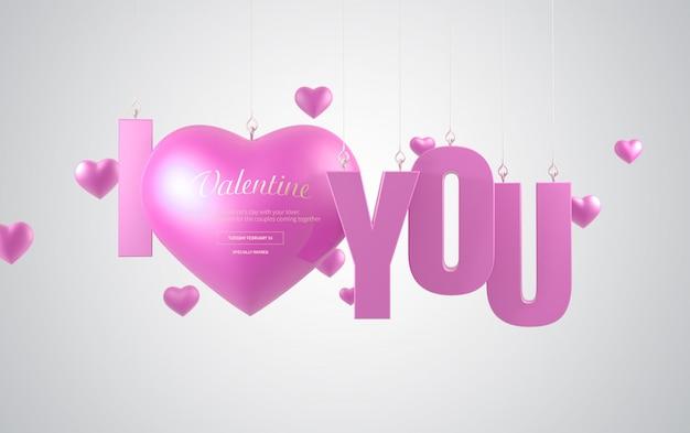 Banner de corazón rosa de san valentín