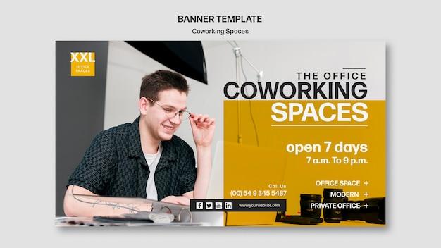 Banner coworking kantoorruimte sjabloon