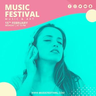 Banner cuadrado abstracto de festival de música