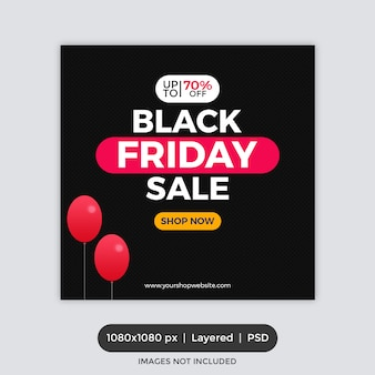 Banner cuadrado de black friday sale para instagram
