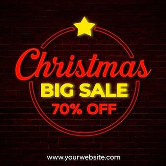 Banner cuadrado de gran venta de navidad