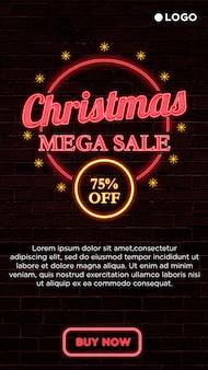 Banner cuadrado de mega venta de navidad