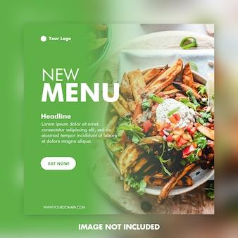 Banner cuadrado de plantilla de publicación de redes sociales de alimentos
