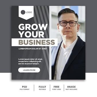 Banner cuadrado plantilla de publicación en redes sociales negocio gris