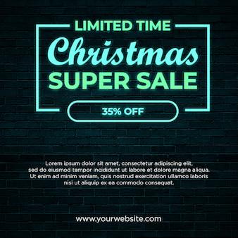Banner cuadrado de super venta de navidad