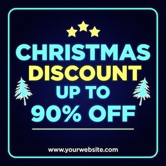 Banner de descuento de navidad 90% de descuento en diseño de estilo neón
