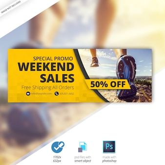Banner di copertina del calendario di vendita di fine settimana di facebook