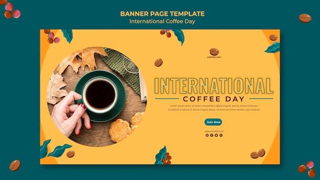 Banner di giornata internazionale del caffè