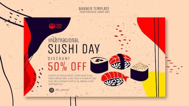 Banner di giorno di sushi con offerta