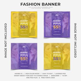 Banner di instagram di sconti evento evento di moda