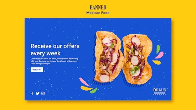 Banner di modello di cibo messicano
