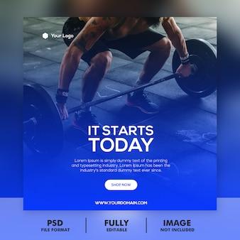 Banner di palestra e fitness moderno