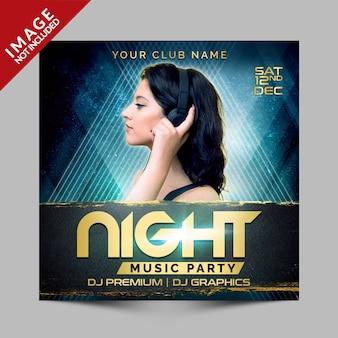Banner di promozione social media festa di musica di notte