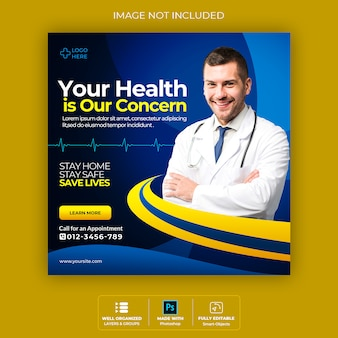 Banner di salute medica su coronavirus, banner post di instagram social media