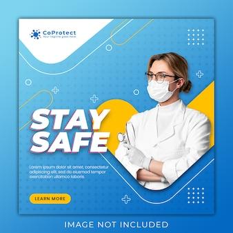 Banner di salute medica su coronavirus, modello di banner post di instagram social media sociali