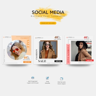 Banner di social media di moda e mega vendita