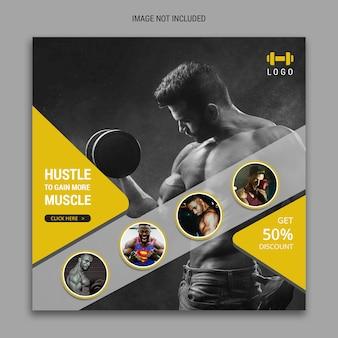 Banner di social media fitness per modello di facebook e instagram