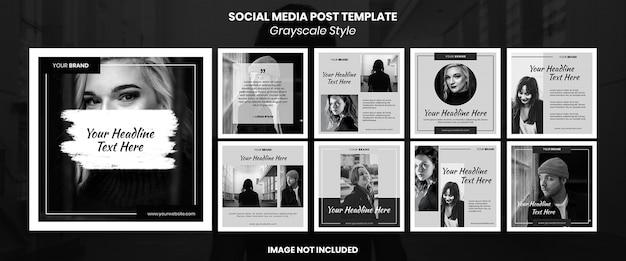 Banner di social media in scala di grigi