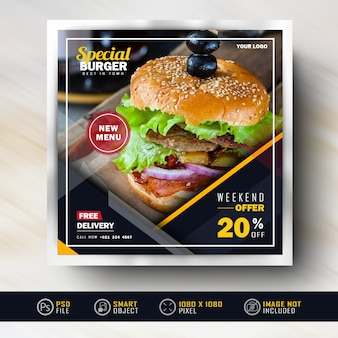 Banner di social media post di instagram per la vendita di alimenti
