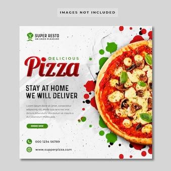 Banner di social media promozione della pizza