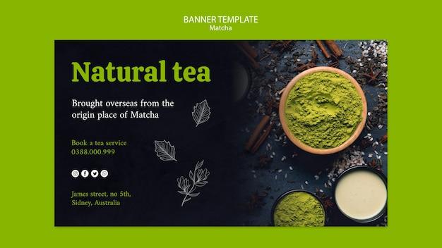 Banner di tè verde bevanda naturale
