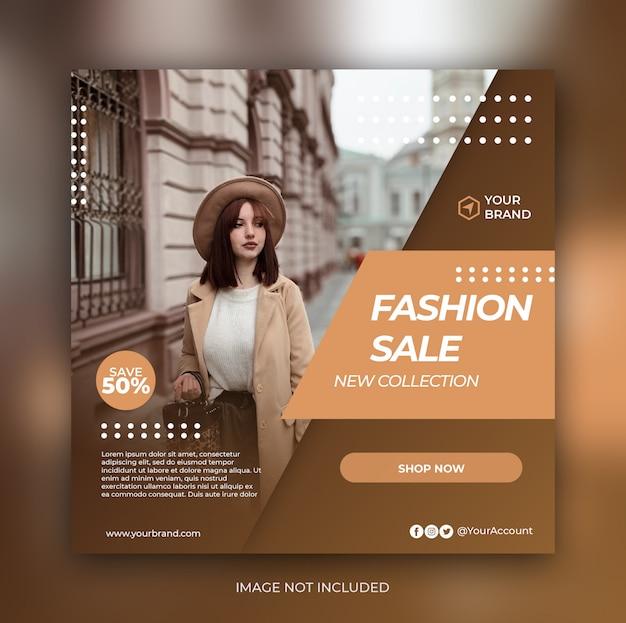 Banner di vendita di moda o volantino quadrato per modello di post di social media