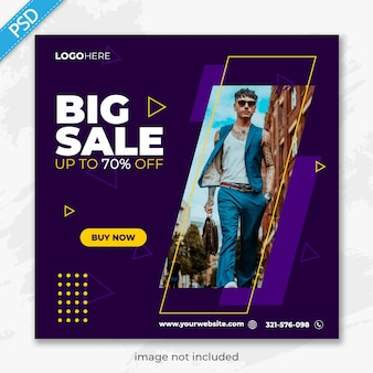 Banner di vendita di moda per web e social media premium