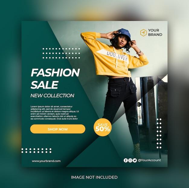 Banner di vendita di moda tosca o volantino quadrato per modello di post di social media