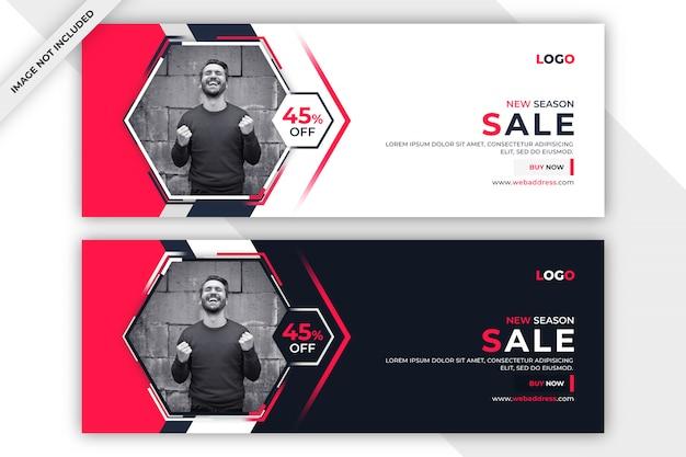 Banner di vendita o modello di copertina di facebook