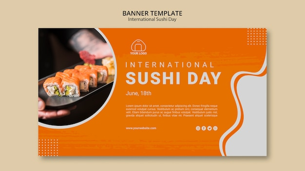 Banner del día internacional del sushi