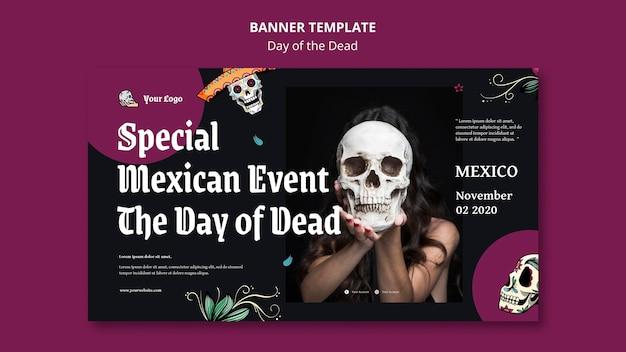 Banner dia de muertos plantilla