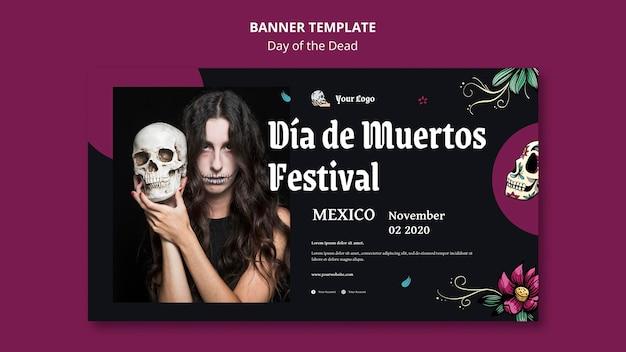 Banner día de la plantilla de anuncio de muertos