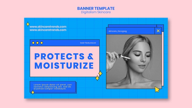Banner de digitalismo para el cuidado de la piel