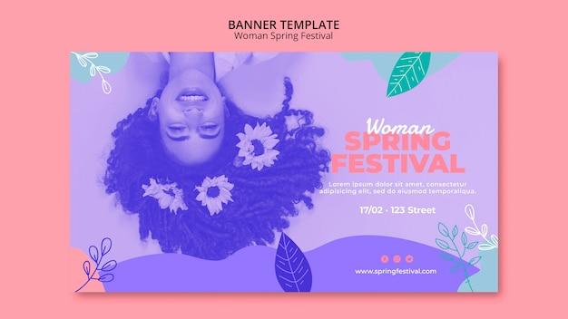 Banner con diseño de festival de primavera de mujer