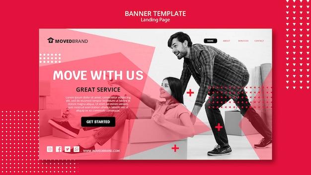 Banner con diseño de mudanza