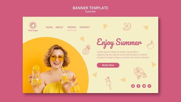 Banner con diseño de plantilla de fiesta de verano