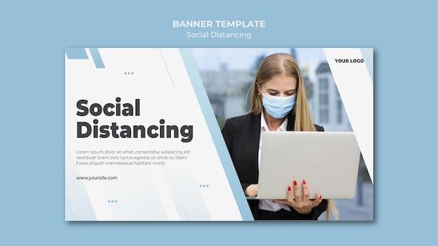Banner de distanciamiento social con foto