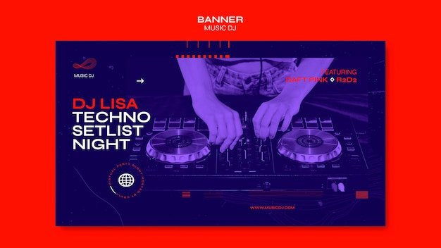 Banner dj set plantilla de transmisión en vivo