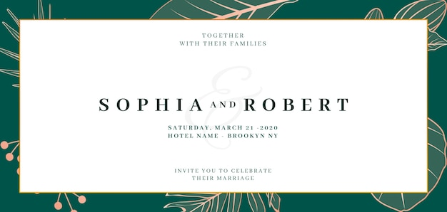 Banner elegante de invitación de boda con concepto de naturaleza