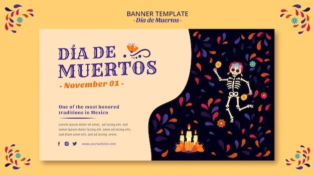 Banner de esqueleto y confeti dia de muertos