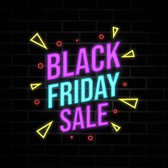 Banner de estilo de neón de descuento de venta de viernes negro