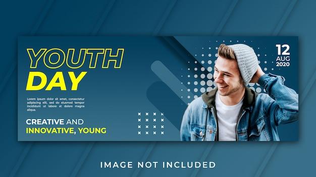 Banner facebook portada plantilla del día de la juventud
