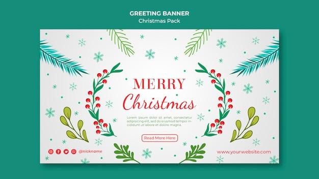 Banner de feliz navidad con decoración