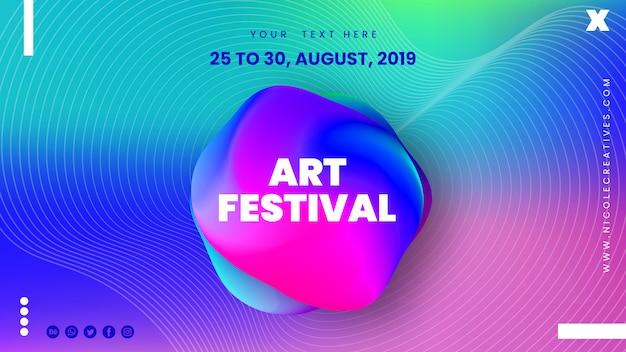 Banner de festival de arte abstracto