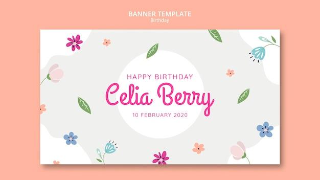 Banner de fiesta de cumpleaños con hojas y flores.