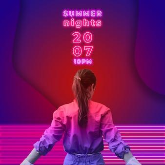 Banner de fiesta de noche de verano en estilo de luces neon