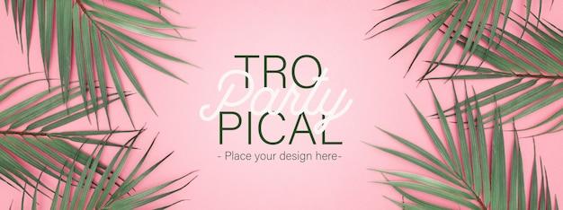 Banner de fiesta tropical con hojas de pal realista