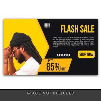 Banner flash verkoop geel en zwart sjabloon