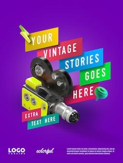 Banner flotante de publicidad de cámara vintage