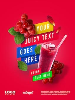 Banner flotante de publicidad de jugo de verano